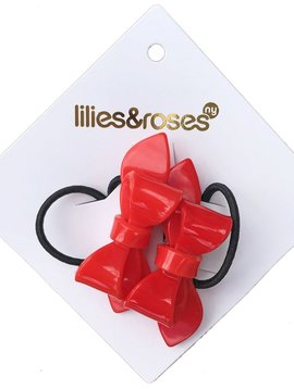 Lilies and Roses Ponytail - Red Bows