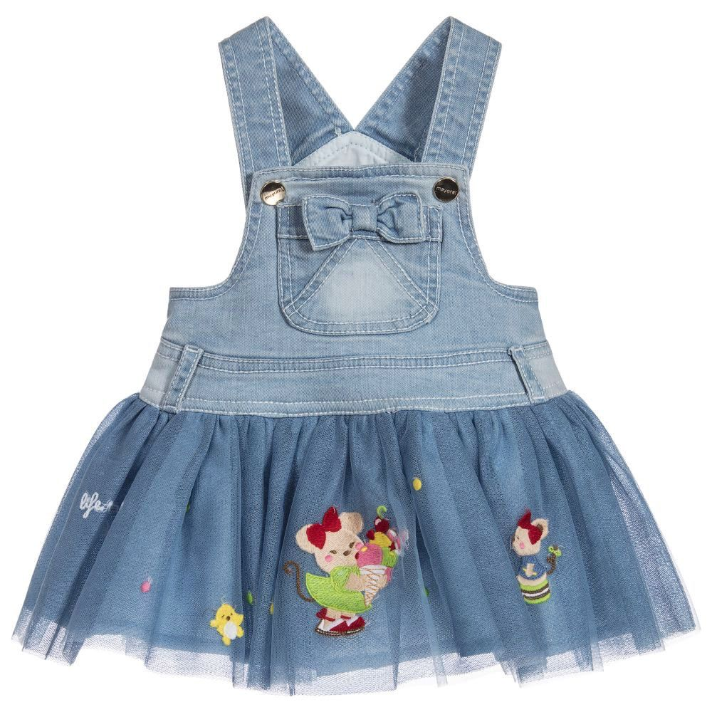 129e3deef46 Mayoral Kids Clothing Girl Denim Tulle Overall Dress - Pumpkin and Bean