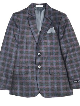 Leo & Zachary Blazer - Burgundy Ink Plaid - Leo and Zachary