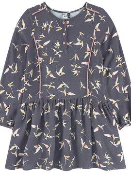 3pommes & B-Karo Grey Crepe Dress with Bird Print - 3 pommes