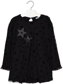 Mayoral Black Tulle Dress with Stars - Mayoral Clothing