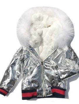 Fur Bomber & Parka White Fur Silver Bomber Jacket - Kids Coat