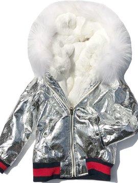 Fur Bomber & Parka White Fur Silver Bomber Jacket - Adult Coat