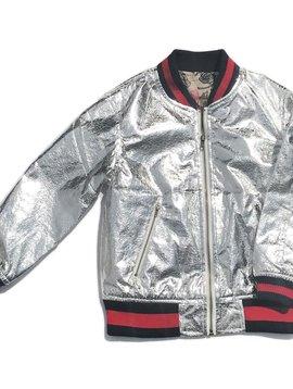 Fur Bomber & Parka Silver Bomber Jacket - Kids Coat