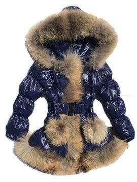 Fur Bomber & Parka Navy Down Coat w Rabbit Fur - Kids Coat