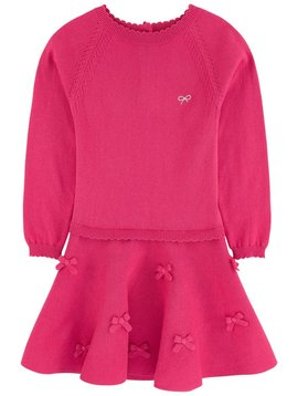 Lili Gaufrette Fuchsia Knit Dress with Bows - Lili Gaufrette