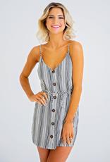 Women's Clothing Striped Linen Dress w/ Tied Neckline