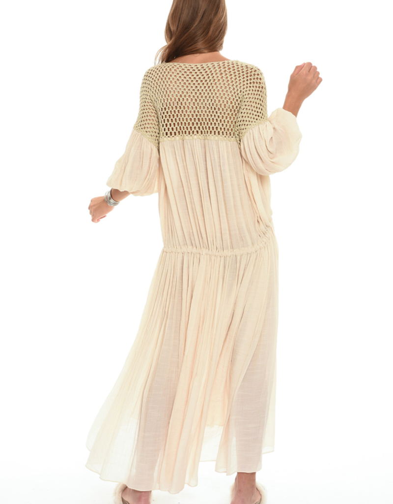 Women's Clothing Hippie Maxi Dress w/ Crochet Detailing, Natural (One Size)