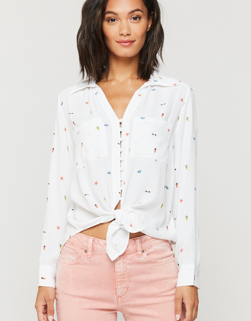 Women's Clothing Eleni - Beach Time Long Sleeve Button Up
