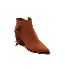 sema-brown suede footwear-short brown bootie w frindge on outside