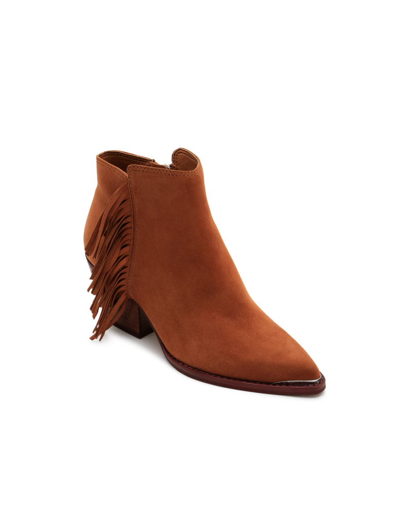sema-brown suede footwear-short brown bootie w frindge on outside