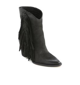 kendel-black nubuck footwear-tall bootie with frindge down outsides 100% suede