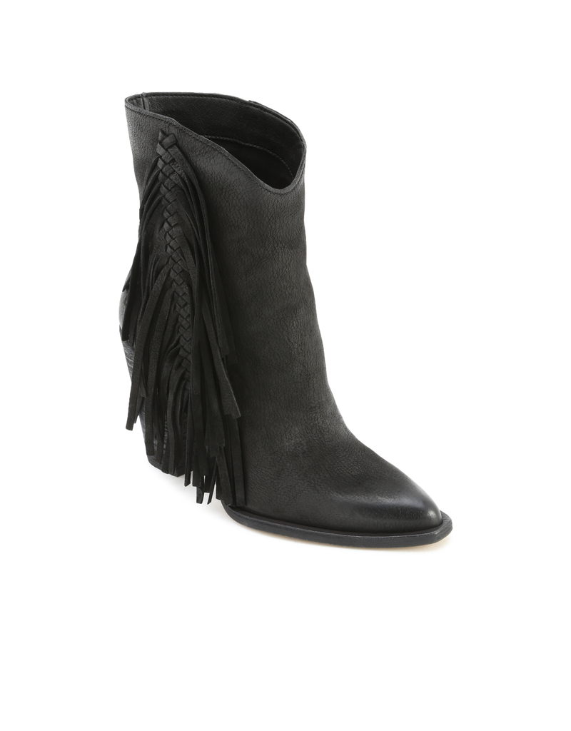 kendel-black nubuck footwear-tall bootie with frindge down outsides 100% suede