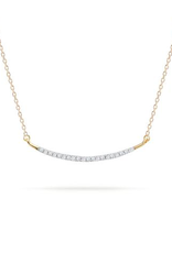 Large Pave Curve necklace Yellow 14k Yellow Gold