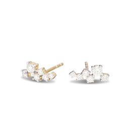 Solid 14k Yellow Gold Scattered Diamond Earring, .13 Diamond Weight