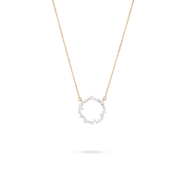 Diamond Baguette Flower necklace - Y14K