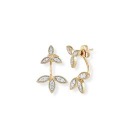 Pave Double flower back drop earrings - Y14K