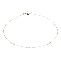 Pave three bar chain choker - Y14K