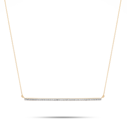 XL Pave Bar Necklace - Y14k Gold