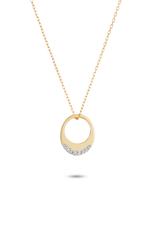 Super Tiny Pave Petal Necklace - Y14k Gold
