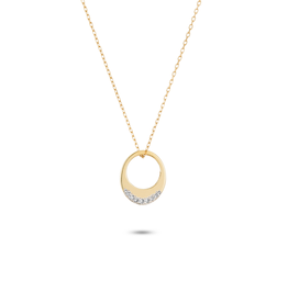 Super Tiny Pave Petal Necklace - Y14k Gold
