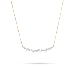 Large Scattered Diamond Curve Bar Necklace<br /> Diamond Carat Weight: 0.30