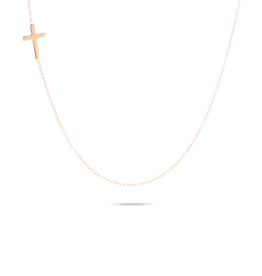 Solid Pave Cross Necklace, 14ct Rose Gold