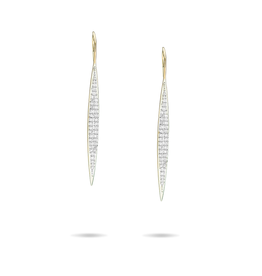 Large pave marquise earrings - 14k