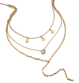 Ela By Ela Rae - Pearl W/ 3 Discs - Knurled Chain W/ Silverite, Rectangle Chain Y Necklace