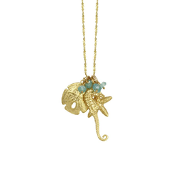 Gold Charm Necklace- seahorse, starfish, sand dollar w/ aqua stone