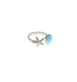 Sterling Silver Turquoise & Starfish Open Ring