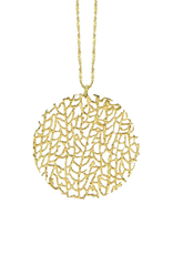 """Large Coral Disc Necklace 20"""" Chain, 18k GV"""