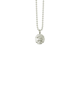 "Mini Sand Dollar Necklace on 16"" Sterling Silver Ball Chain"