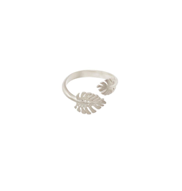 Double Monstera Leaf Ring, sterling Silver