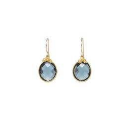 Bezel W/ London Blue Topaz Drop Earrings - Vermeil