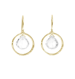 Gold Vermeil Branch Circle Earring W/ Teardrop Shape White Topaz