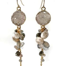 Silverette, Labradorite, smokey quarts, moonstone, herkimer quartz with round druzy cluster earring