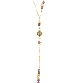 "Scattered Ruby Sapphire and GF Diamond Dust Rondelles, W/ Round Bezeled labradorite Y Drop Necklace, Vermai gold chain Necklace, 17"" with 2"" drop"