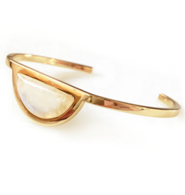 Moon Gazer Bangle, Labradorite, Emerald, or Moonstone, 18k GP Brass