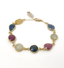 Dayna Tennis Bracelet - Multi Sapphire, Garnet, and Quartz