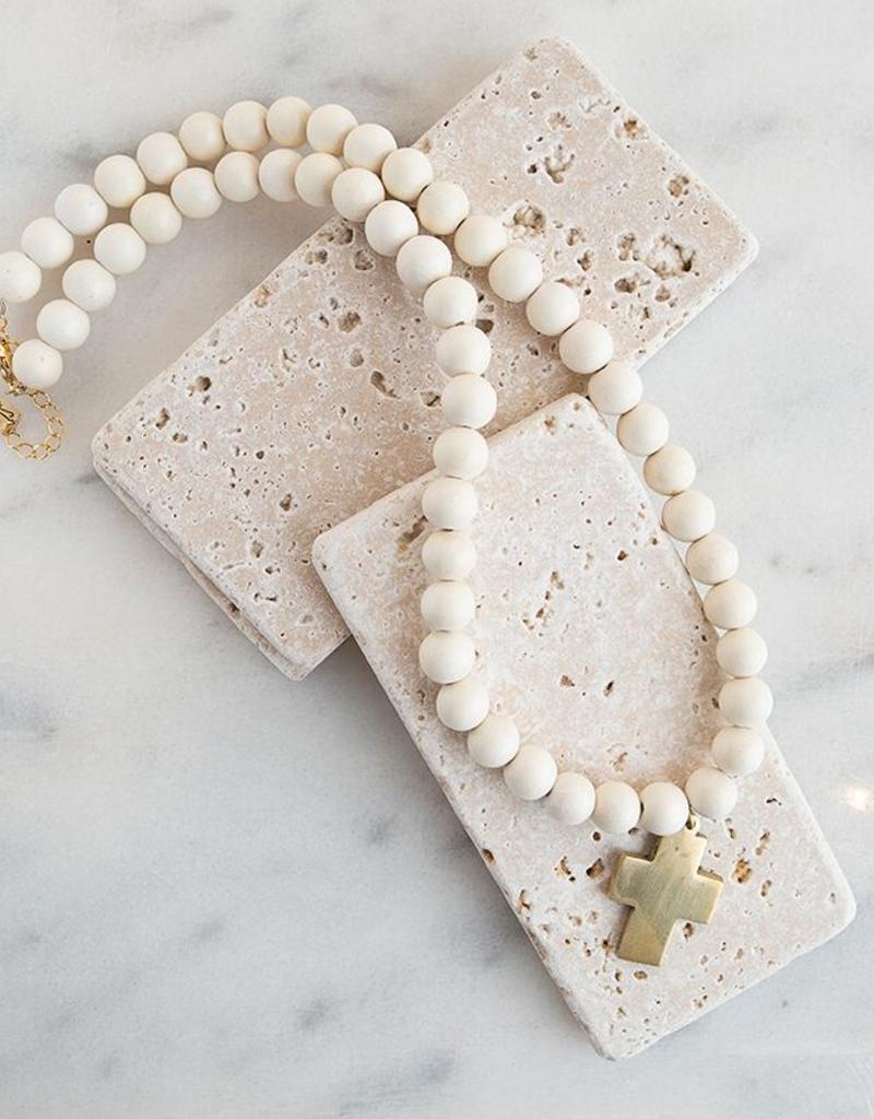 Cross Pendant Necklace - White