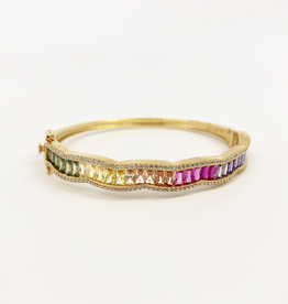 Gold vermeil bangle bracelet w/ rainbow baquettes, curved pave border and double sided clasp
