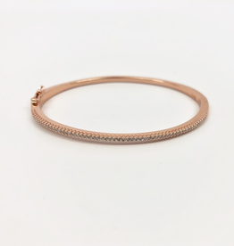 Skinny pave bangle bracelet w/ rose gold vermeil and double snap closure