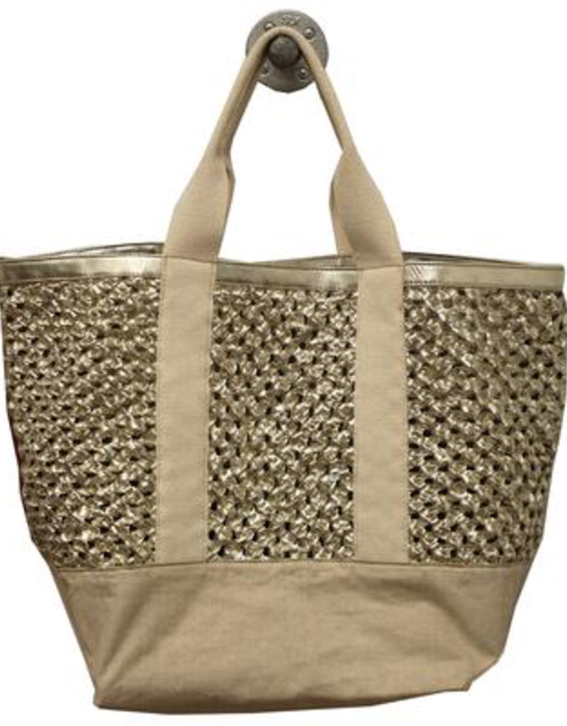 Greta - woven leather in gold w/ canvas detailing and canvas shoulder strap
