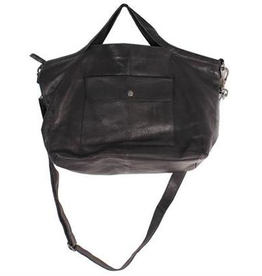 Colin Tote- Large Leather Tote w/ Zipper & Exterior Front Flap Pocket w/ Snap Closure