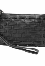 Kayla - 100% Genuine Leather Black Wristlet W/ Top Zip Entry and Front Square Woven Patch Detail, Smooth Leather Back, Card Slots Inside