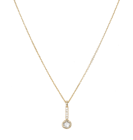 Rose Cut Diamond Drop Necklace 14k