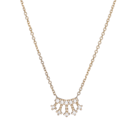Mini White Diamond Crown Necklace 14Kt