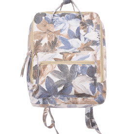 Zora- 100% Leather Backpack W/ Magnetic Back Pocket, Front Zip Pocket, Top Handle, Side Pocket, Floral, black, or Taupe