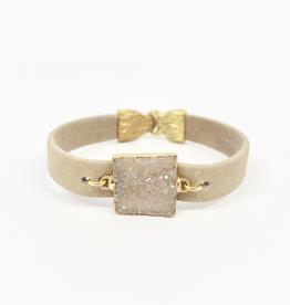 Beige leather cuff, square agate druzy wrapped in gold w/ brass hook closure